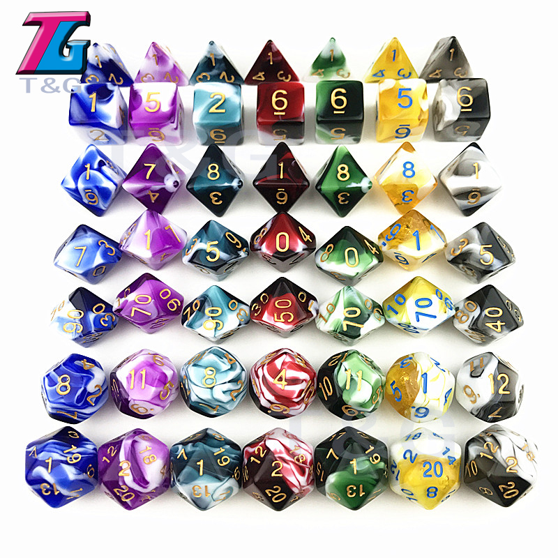 Decider Die Transparent & White Color Dice D4-D20 For RPG Parties Toys 7 Colors