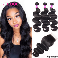 Recool Hair Peruvian Hair Bundles With Closure Body Wave Bundles With Closure High Ratio Remy Human Hair 3 Bundles With Closure(China)