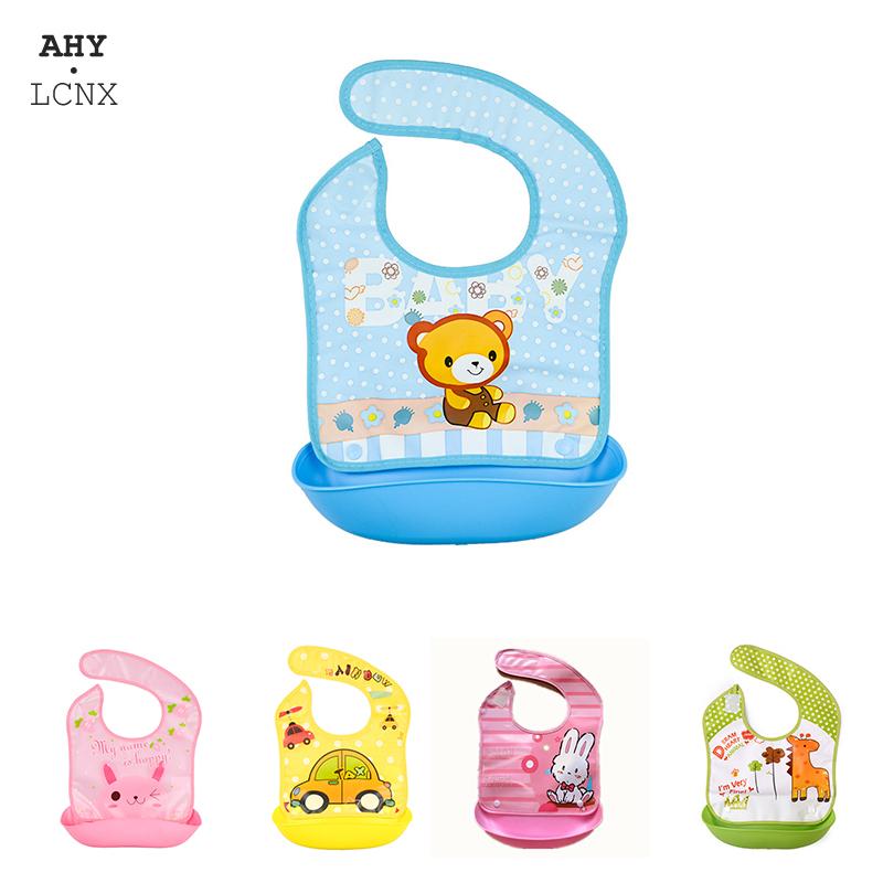 Security Cartoon Print Baby Bibs Boys Girls Bib Waterproof Soft Silicone Kids Burp Cloth Children Bib Feeding Bib with Pocket