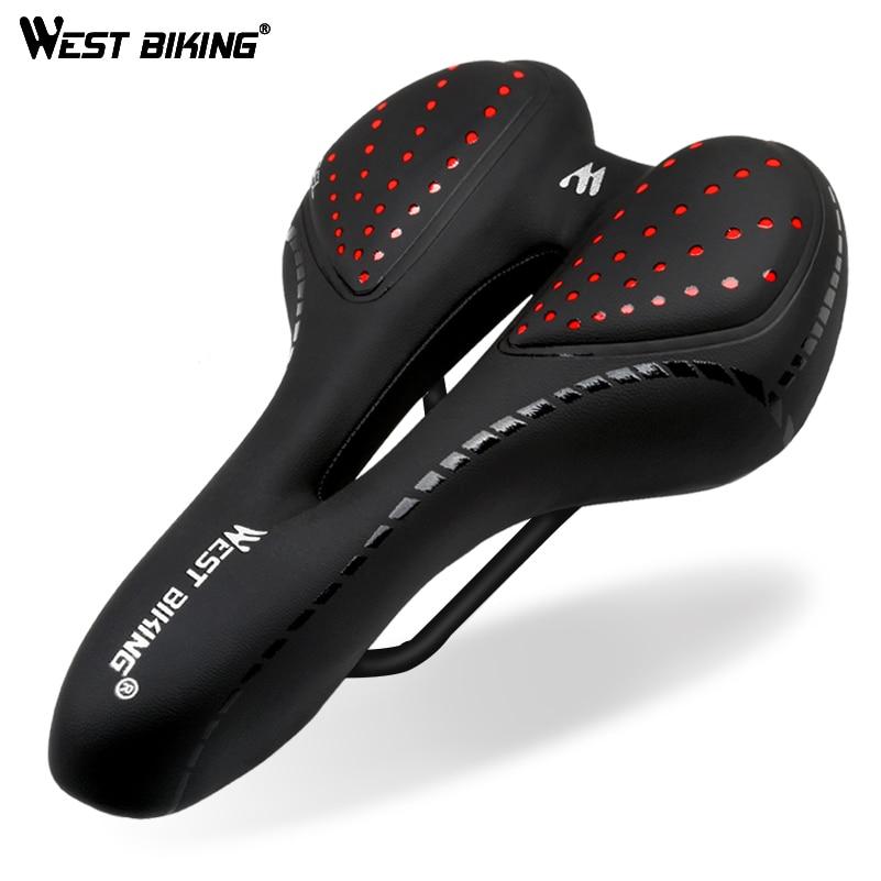 West biking bicicleta sela almofada de silicone couro do plutônio superfície sílica cheio gel confortável ciclismo assento à prova de choque sela da bicicleta