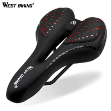 WEST BIKING Bike Saddle Silicone Cushion PU Leather Surface Silica Filled Gel Comfortable Cycling Seat Shockproof Bicycle