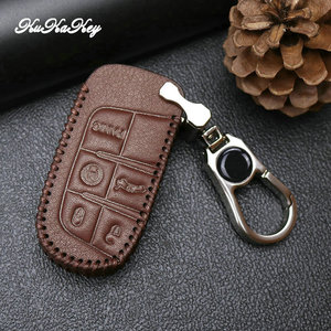 Image 4 - Leather Car Key Case Cover For Jeep Grand Cherokee Compass Wrangler Renegade Hard Steel 2016 2017 Chrysler 300C For Fiat