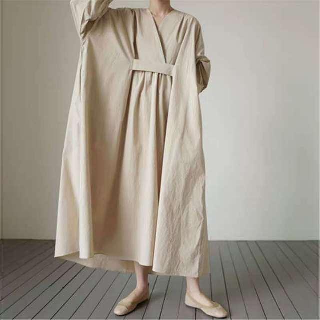 Johnature 2021 Autumn New Korean V-neck Full Sleeve Plus Size Solid Color Dresses Women Casual Loose Pockets Female Dress 1