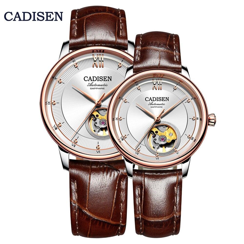 CADISEN Couple Mechanical Watch Set Men Women Wristwatches Skeleton MIYOTA90S5 Ultra-thin Watches Leather Ladies For Lover Clock