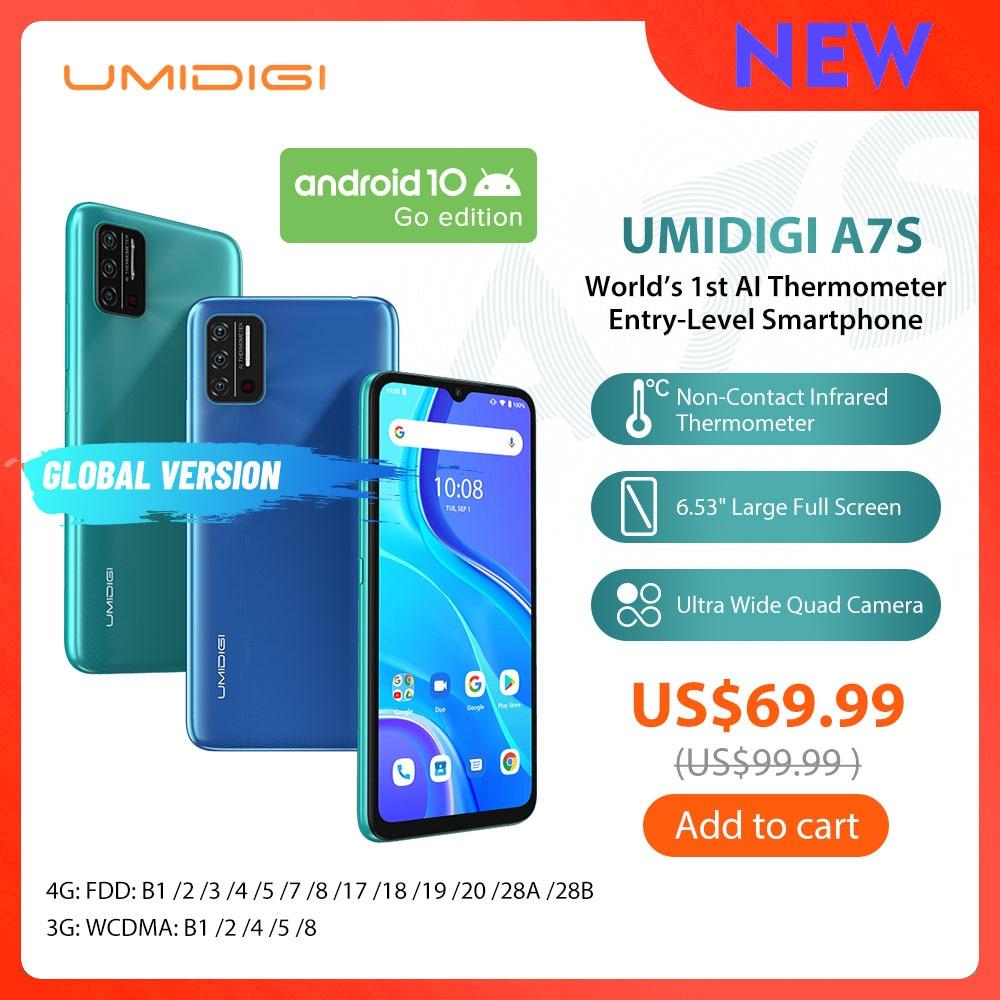 "UMIDIGI A7S Smart Phone6.53 ""209 pantalla grande 32GB 4150mAh Triple Cámara versión Global móvil Sensor de temperatura infrarroja"