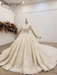 Image 2 - יוקרה ארוך שרוולי כדור שמלות חתונה שמלות Sheer צוואר תחרה פניני חרוזים סעודית אלגנטי עבור כלה 2020