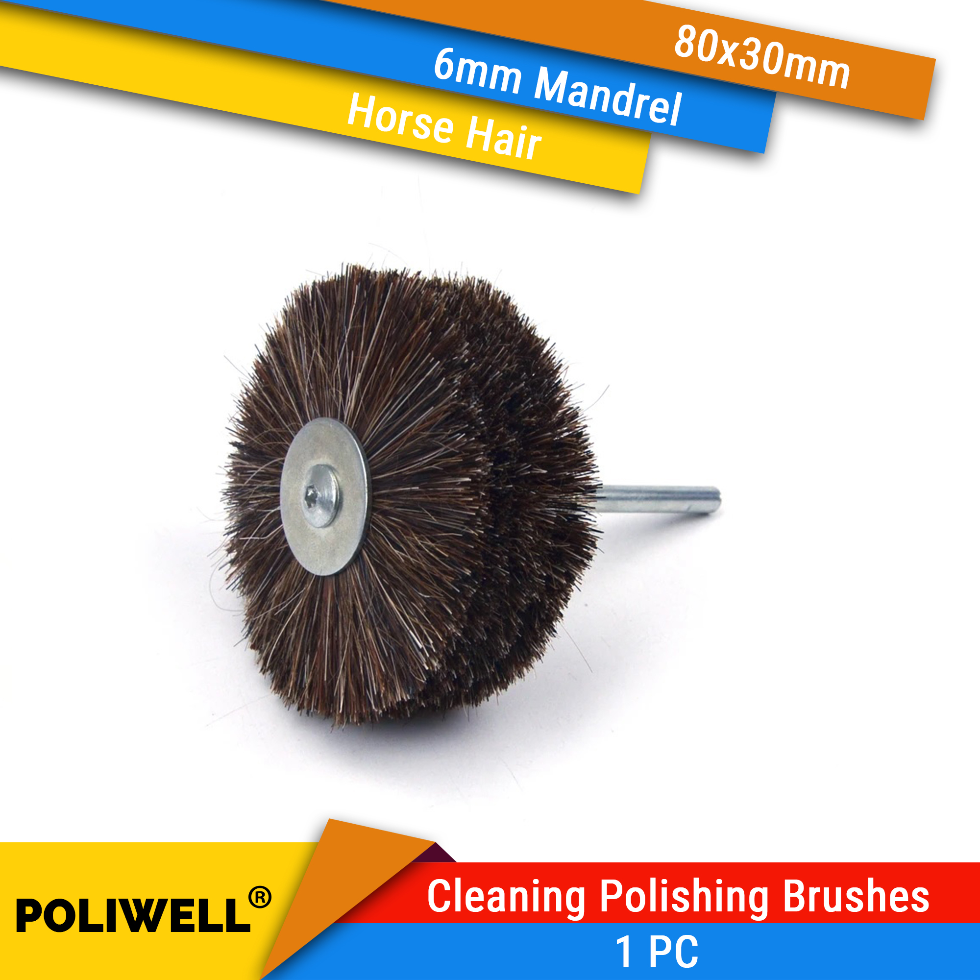 80x30mm x 6mm Mounted Shank Horse Bristle Wheel Brushes for Mini Drill Cup Brush Wheel Power Tool Accessories