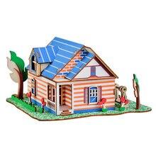 Crianças 3d de madeira diy casas jigsaw crianças castelo padrão construção quebra-cabeça brinquedos do bebê montagem mão trabalho educativo brinqued