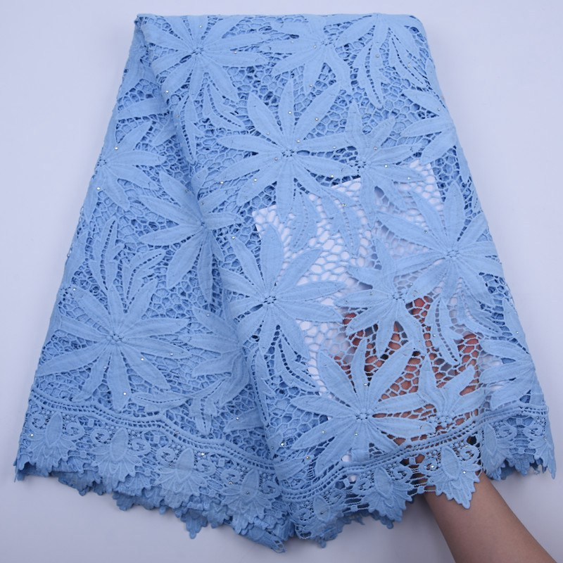 Latest Pink Blue African Cord Lace Fabric 2020 High Quality Lace Guipure Cord Water Soluble Lace For Wedding Sewing S1781