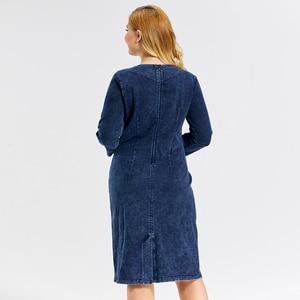 Image 4 - Женское джинсовое платье LIH HUA, облегающее платье из стрейча премиум размера плюс, Повседневное платье с подплечниками