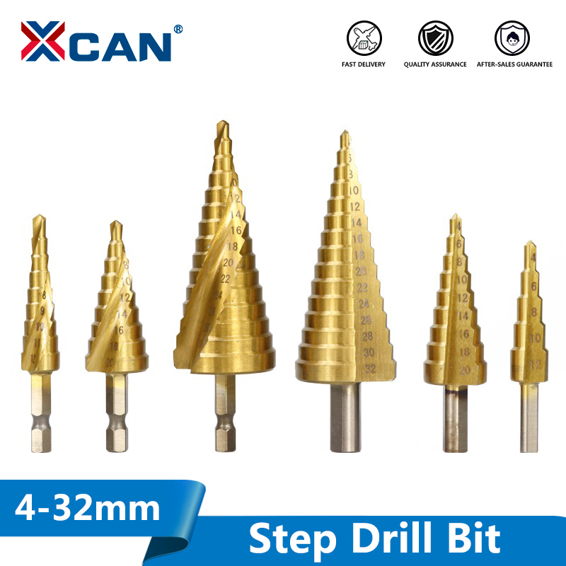 4-32mm Titanium Coated Pagoda Shape Step Drill Bit HSS Triangle Shank Hole Drill Cone Drill Bit Step Drill