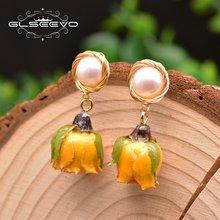 Glseevo пресной воды Жемчужное желтый реальным цветкам серьги