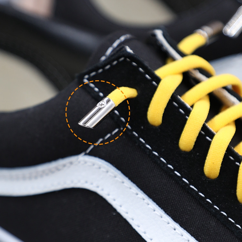New Elastic Shoelaces Metal Tip Round Quick No Tie Shoelace Kids Adult Unisex Suitable For All Kinds Of Shoes Lazy Laces 1 Pair