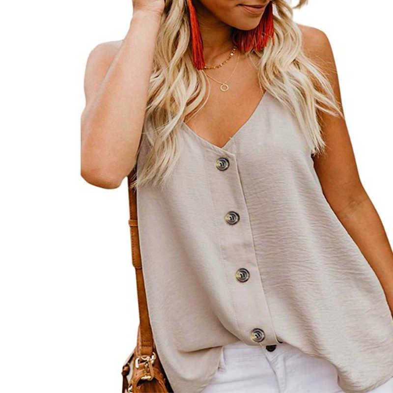 Sexy verão blusas mujer de moda 2019 coreano boho chiffon com decote em v blusa feminina elegante sem mangas camisa casual topos 6927