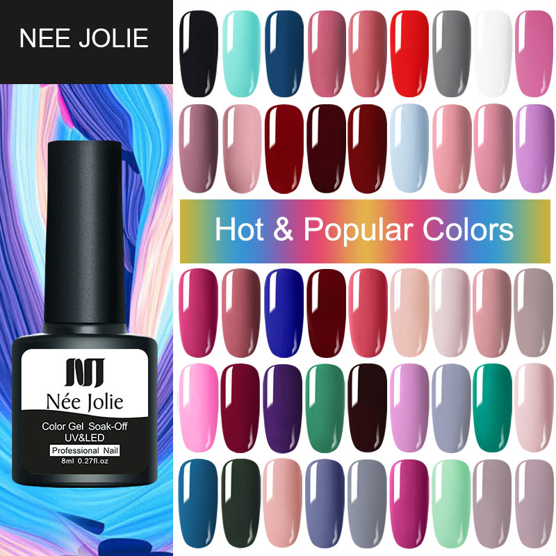 NEE JOLIE 8ml Matting Top Coat Soak Off Color UV Gel Nail Polish Black Red Semi Permanent UV Gel Varnish DIY Nail Art Paint Gel