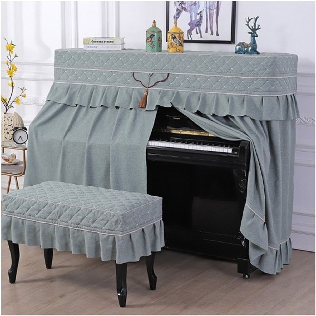 North European Cotton Linen Cloth Dust Cover Solid Color Piano Cover Full Cover Half Open Style Piano Bench Cover  4 colors.