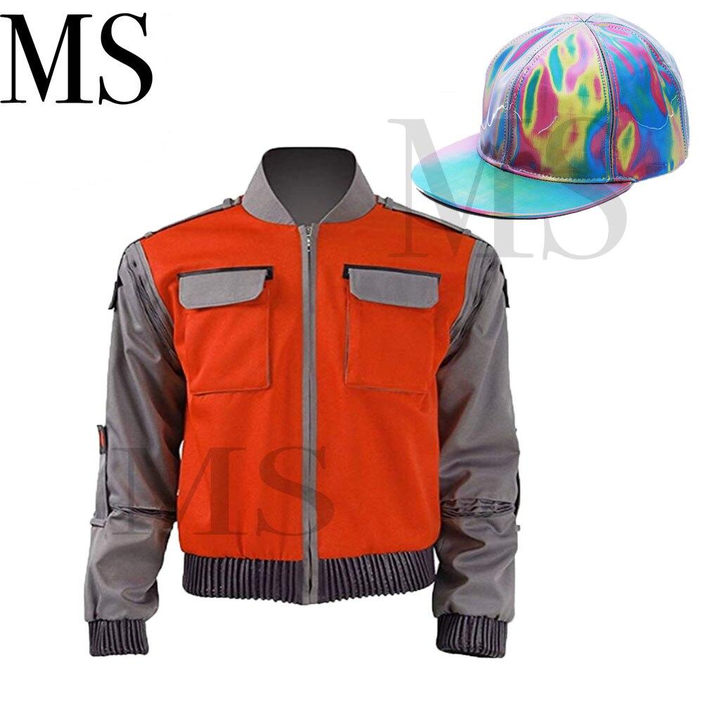 Haute qualité retour au futur Cosplay Costume Jr Marlene Seamus Marty McFly veste Orange vêtements d'extérieur manteau fait n'importe quelle taille
