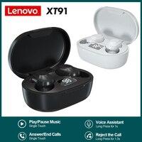 Auricolari Lenovo XT91 TWS Touch Control cuffie sportive auricolari In-ear resistenti al sudore con microfono Bluetooth 5.0 cuffie Wireless reali