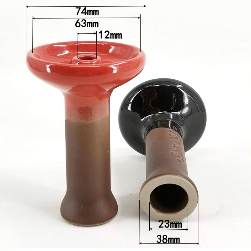 1pc Bong Bowl Two-color Mosaic Polka  Ceramic Hookah Shisha Bowl Single Hole Glaze Head Glass Water Pipe Charcoal Holder 2