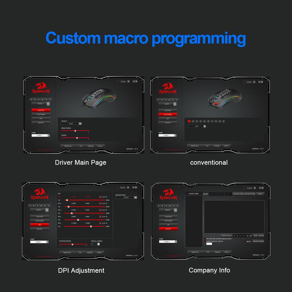 Redragon Storm Elite M988 USB wired RGB Gaming Mouse 16000 DPI programmable game mice backlight ergonomic laptop PC computer 6