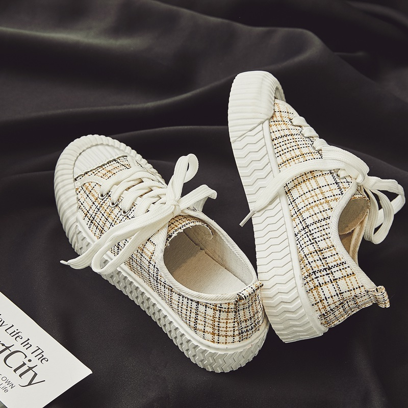 Designer Women Lace Up Lattice Shoes Brand Girls Fresh Canvas Low Top Thick Heel Sneakers Student Casual Running Platform Shoes