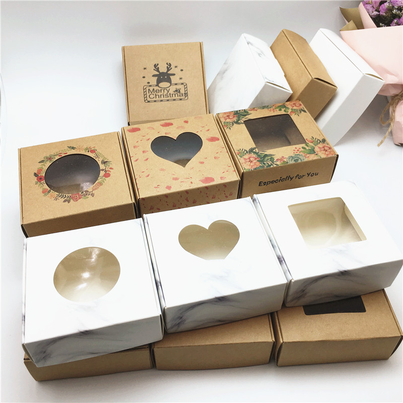 50pcs Jewelry Gifts dispaly Box Dreamcatcher kraft paper box romance print jewelry necklace earring ring package box title=