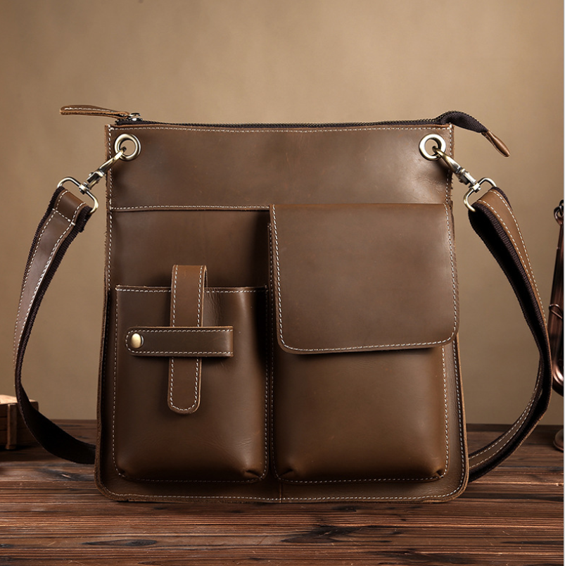 vintage Genuine Leather handbag Men's Messenger bag cow leather shoulder bag for male fashion man crossbody bags Handbags gift