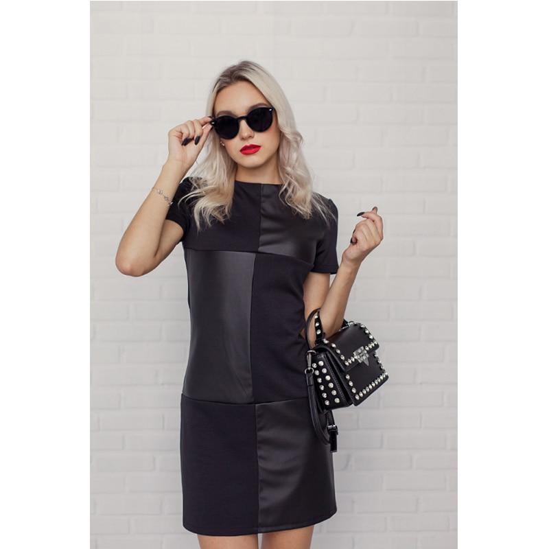 Cool Streetwear Black Mini Women Dress Ladies Long Sleeve Patchwork O Neck Party Dress Fashion Female Club Sexy Summer Dress