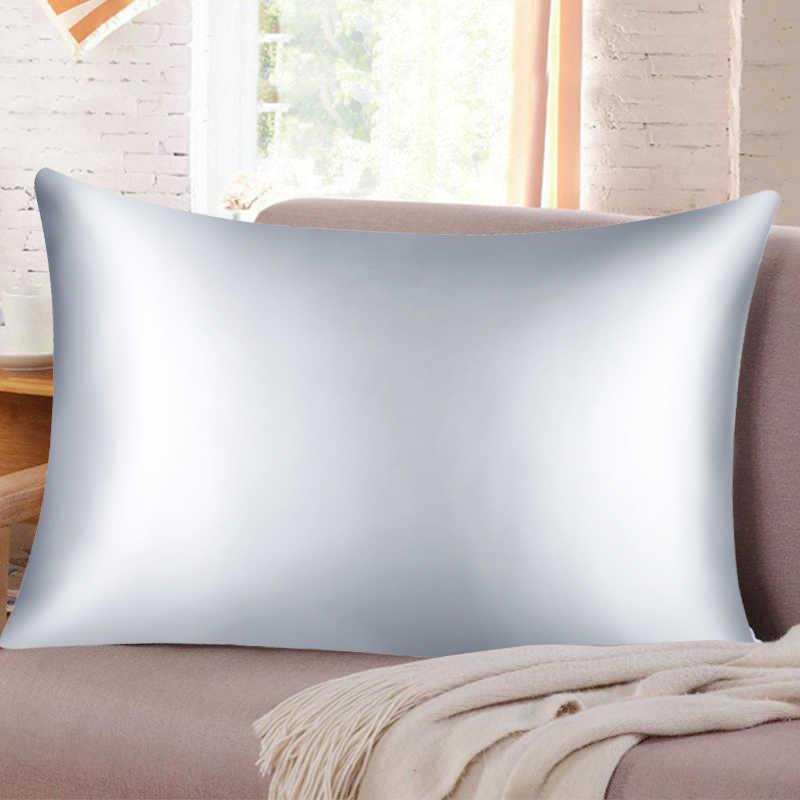 Urijk 1/2 個純粋なエミュレーションサテンシルク枕ケースソフト桑無地枕ケースカバー平方枕シングルカバー座椅子