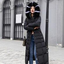 New Padded Jacket 2019 long Fashion Winter Jacket Women Thick Down Parkas female Slim Fur Collar Winter Warm Coat For Women