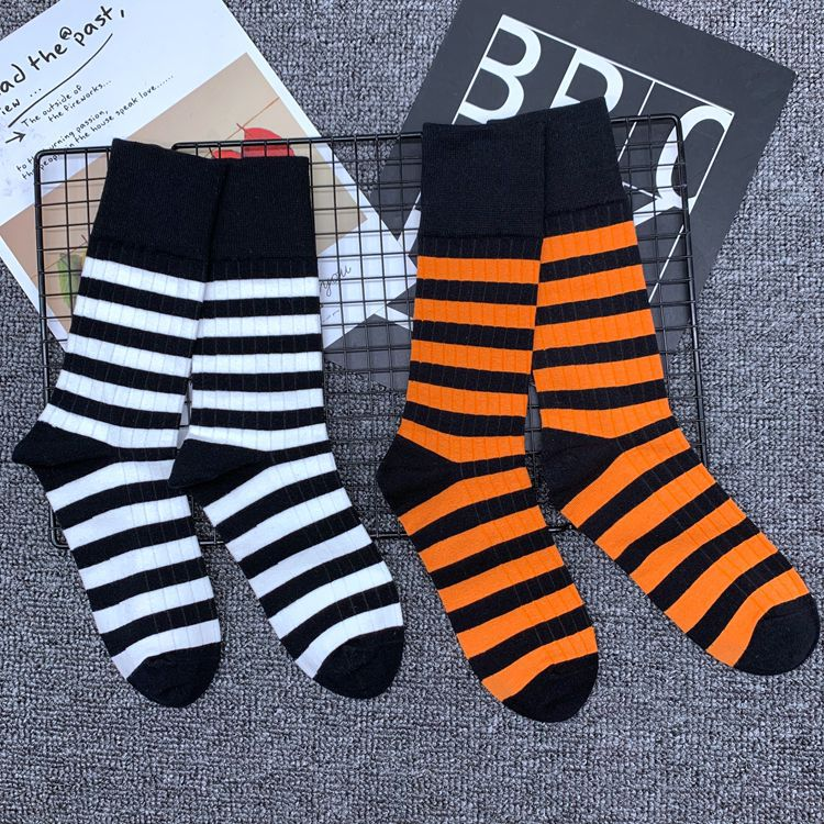 Adult Mid Calf Crew Bee Tiger Simple Cotton Socks Stripe Yarn Stocking Knit Black Orange Contrast Red Green Zebra Ombre Stripe
