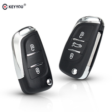 KEYYOU CE0523 2/3 BT Filp Remote Car Key Shell Case For Peugeot 306 407 807 Partner For Citroen C2 C4 C5 C6 C8 Berlingo Picasso цена