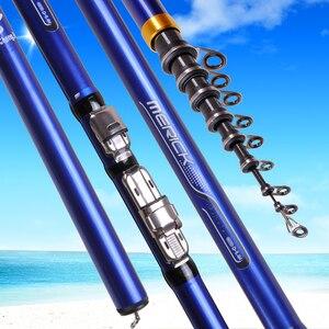 Image 2 - Fibra de Carbono 3,6 M 4,5 M 5,4 M 6,3 M Giratoria Caña de Pescar M Potencia Telescópica de Pescar Carpa Barra de Alimentador Giratoria de Surf