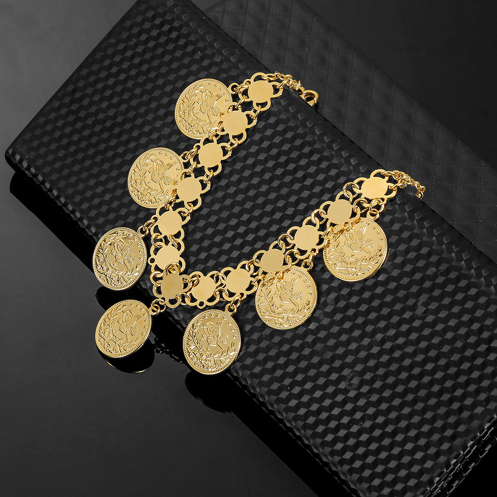 Gold Coin Bracelet Women Turkish Allah Bracelet Men Gold Color Ethiopian Jewelry African Muslim Islam Bangle Arab Wedding Gifts