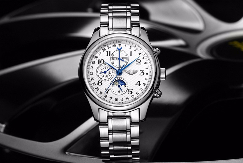 H03191f514e15491482575c134dfadb63S GUANQIN Automatic Mechanical Men Watches Top Brand Luxury Waterproof date Calendar Moon Leather Wristwatch Relogio Masculino A