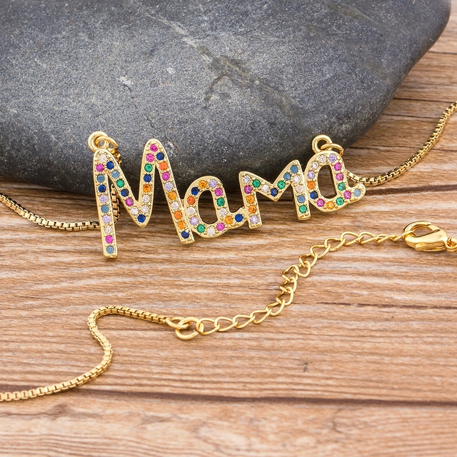 Elegant Mother's Day Gift MaMa Letter Name Pendant Chain Necklaces  Copper Cubic Zirconia Necklace Jewelry Gift for Women 4