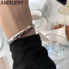 ANENJERY 925 Sterling Silver Twist Bangles for Women Men Handmade Open Cuff Thai Silver Bangles Jewelry S-B489