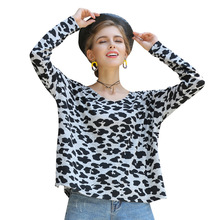 Leopard pullover sweater 2019 autumn and winter new loose long-sleeved V-neck knit womens shirt