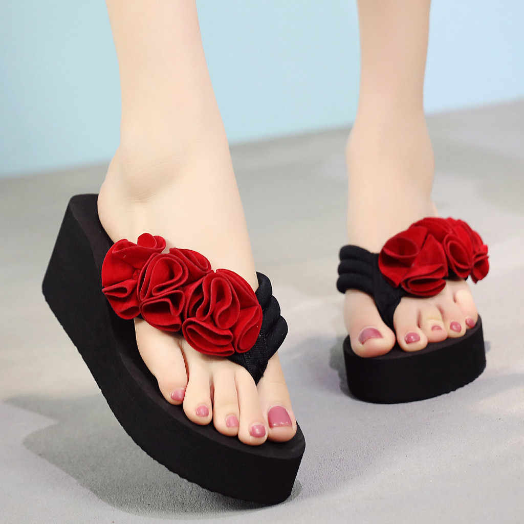Shoes Woman Summer Flower Clip Toe Sandals Womens Shoes Wedge Slippers sandalia feminina Women Beach Slipper Flip Flops mujer