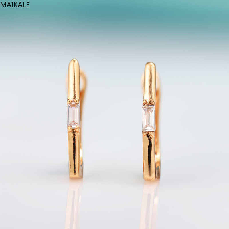 MAIKALE Trendy geometric Stud Earrings For Women rectangle Cubic Zirconia Fine Jewelry Rose Gold Earrings Exquisite Jewelry Gift