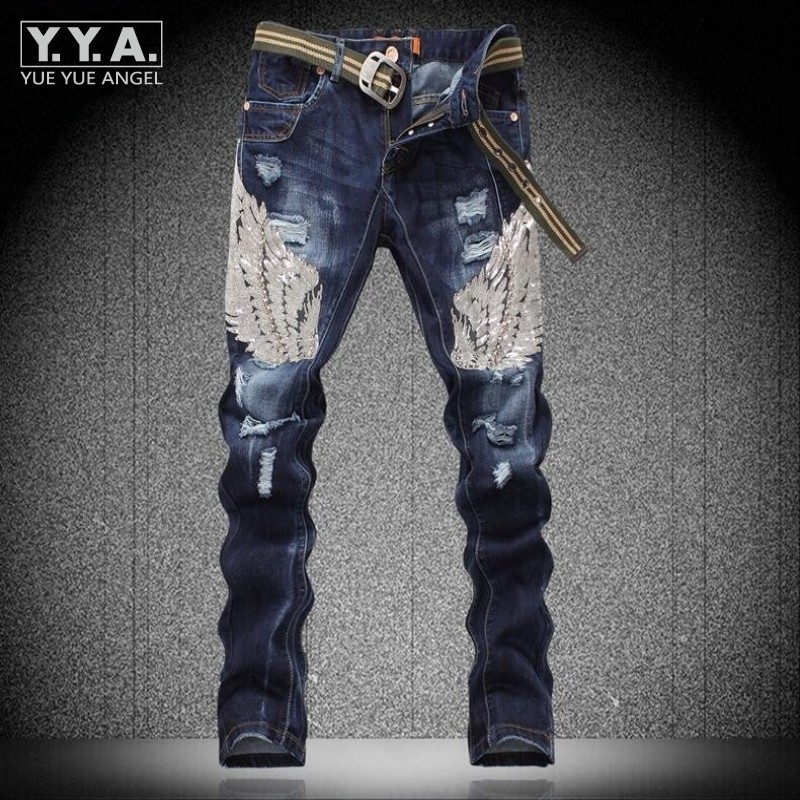 Mens Fashion Sequins Eagle Wing Cotton Jeans Pants Denim Trousers Ripped Washed Casual Fitness Personality Rock Punk Homme Jeans