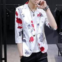 Floral Tuxedos Blazer Men Half sleeve Casual Mens Blazer Jacket Unique designs Stage Costume Slim fit Black White