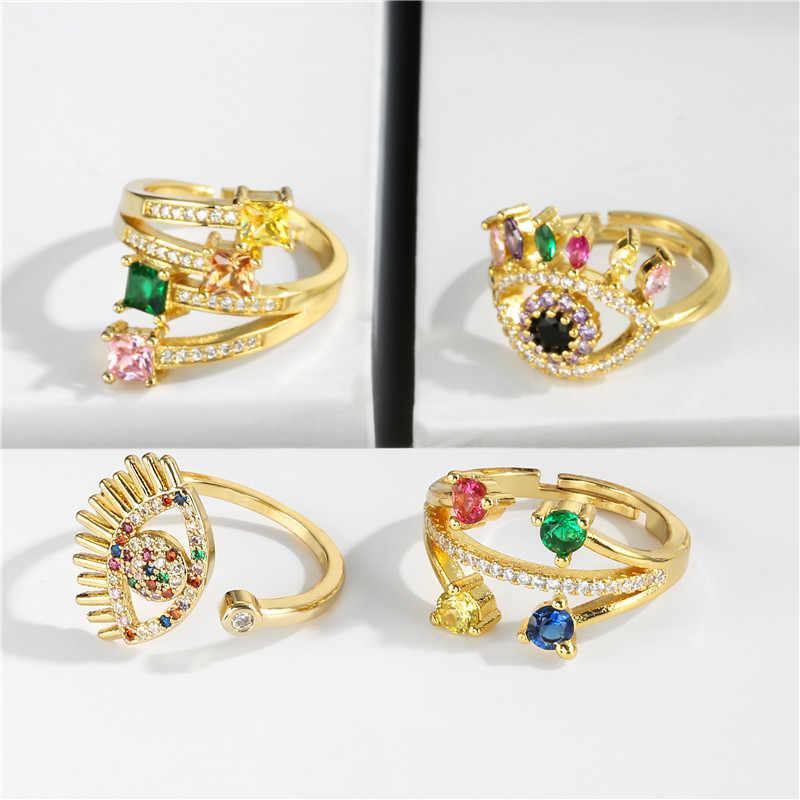 Newbuy Mewah Crystal Wanita Pernikahan Cincin Geometris Warna Emas Cincin Adjustable Hari Valentine Hadiah untuk Pecinta