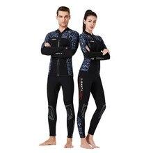 Chinese Flower 3mm Neoprene Men Women Wetsuit Diving Pants Jacket 2-pieces Winter Warm Deep Swimsuit Long Sleeve Surfing Suit