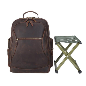 Image 2 - MAHUE Leather Backpack With Collapsible Chair Large Capacity Leather Backpack For 17 Inch Laptop Top Layer Cowhide Travel Bag