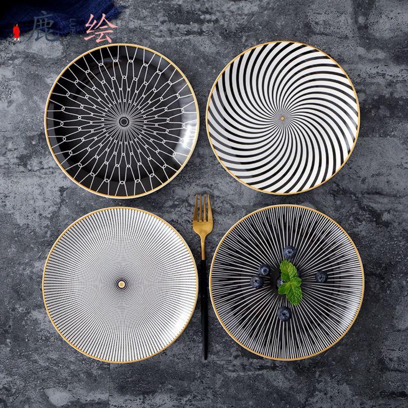 Assiette à dessert en porcelaine 6/ 8 /10 pouces   Vaisselle à géométrie de Phnom penh assiette à dîner en céramique assiette à dessert en porcelaine 6 pièces - 3
