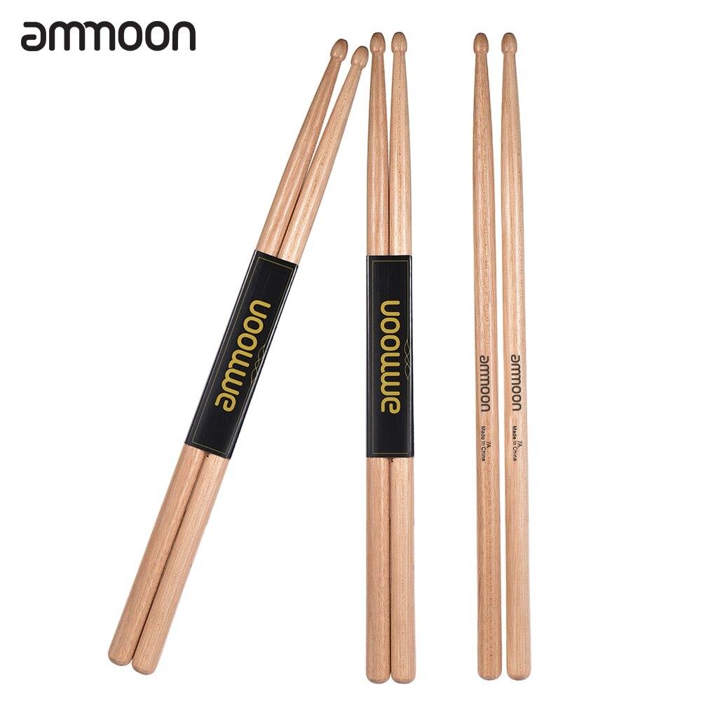 3 Pairs/lot Ammoon 5A Wooden Drumsticks Drum Sticks Walnut Wood Drum Set Accessories