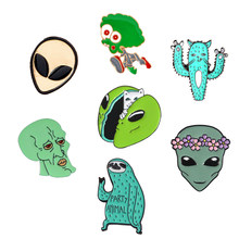 Cartoon Alien enamel pins Funny Cat octopus sloth cactus badge brooch Wreath women alien Lapel pins jewelry gift Coat bag pin(China)