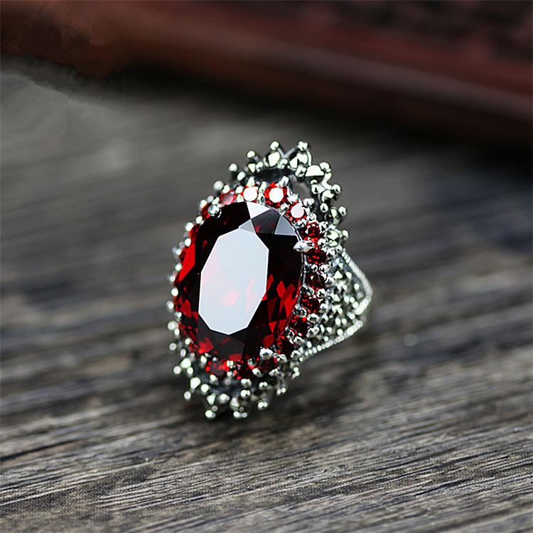 Charm Male Female Big Ruby Red Ring Vintage 925 Sterling Silver Engagement Ring Large Oval Wedding Rings For Men And Women