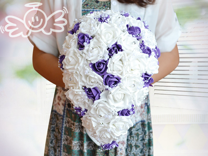 Waterfall Purple Wedding Flowers Bridal Bouquets Artificial Pearls Crystal Wedding Bouquets Bouquet De Mariage Rose